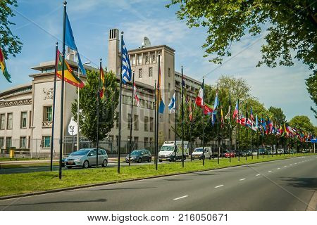 THE HAGUE (DEN HAAG), NETHERLANDS. July 19, 2017. The official building of the International Criminal Tribunal for the former Yugoslavia. Ratko Mladic, Slobodan Praljak were charged here.