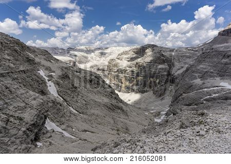 Panorama from the summit of Sass Pordoi. Dolomites. Italy.
