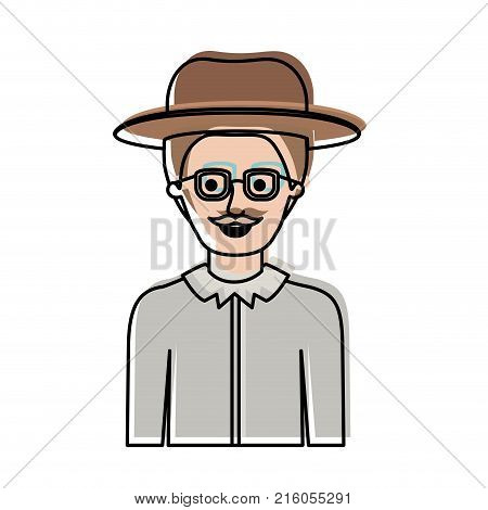 man half body with hat and glasses and shirt with short hair and moustache in watercolor silhouette vector illustration