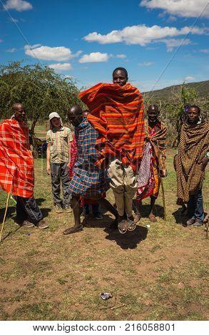 Ritual Of Jumping In Masai Village, Kenia