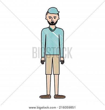 man full body with t-shirt long sleeve and short pants and shoes with high fade haircut and stubble beard in colored crayon silhouette vector illustration