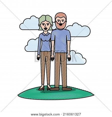 couple in colored crayon silhouette scene outdoor and her with blouse long sleeve and pants and heel shoes with short wavy hair and him with t-shirt and pants and shoes with short hair and beard vector illustration