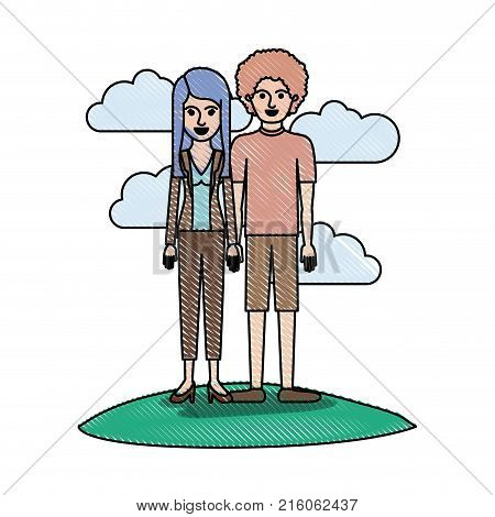 couple in colored crayon silhouette scene outdoor and her with blouse and jacket and pants and heel shoes with layered hair and him with t-shirt and short pants and shoes with curly hair vector illustration