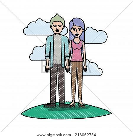 couple in colored crayon silhouette scene outdoor and him with shirt and jacket and pants and shoes with short hair and her with t-shirt sleeveless and pants and heel shoes with long straight hair vector illustration
