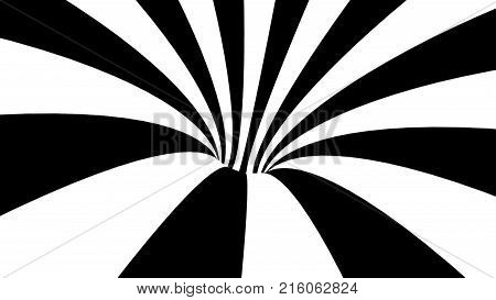 Black and white hypnotic spiral. Abstract bckground. 3d rendering
