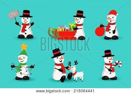 Christmas Snowman Funny Holiday Cartoon Set