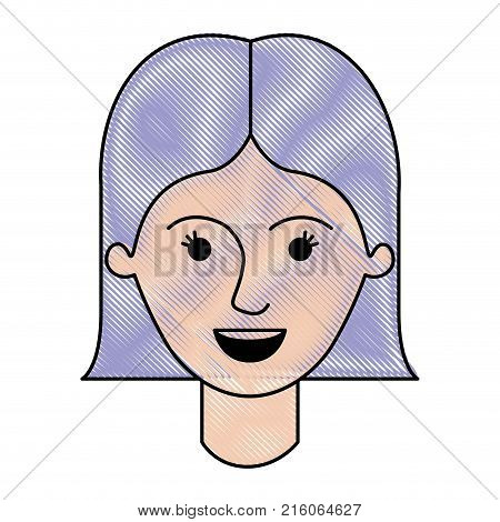female face with short straight hairstyle in colored crayon silhouette vector illustration