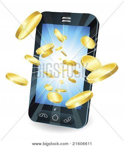Gouden munten vliegen uit slimme mobiele telefoon