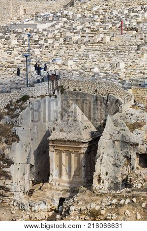 JERUSALEM, ISRAEL - 22 NOVEMBER 2017: The most ancient Jewish cemetery in the world on the Mount of Olives
