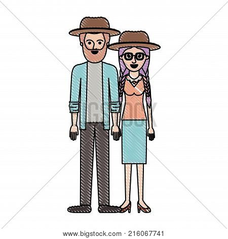couple in colored crayon silhouette and both with hat and him with beard and shirt and jacket and pants and shoes and her with glasses blouse and skirt and heel shoes with braided hair vector illustration