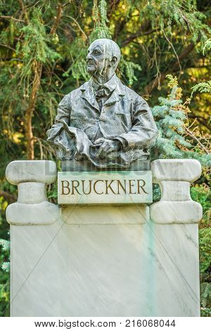 Bruckner bust in Stadtpark, Vienna. Anton Bruckner was an Austrian composer known for his symphonies, masses, and motets.