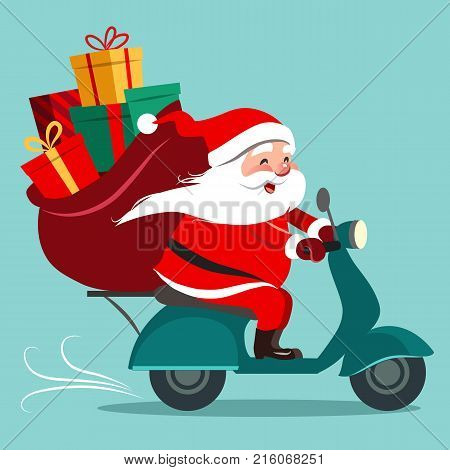 Vector cartoon illustration of happy Santa Claus with a gift sack riding a scooter. Christmas holiday theme design element for greeting cards banners ads in contemporary flat style.