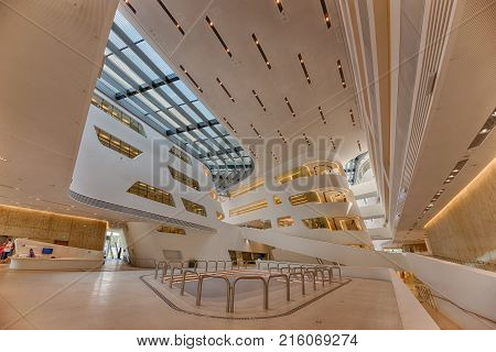 VIENNA, AUSTRIA - JULY 18, 2014: Interior of the new and futuristic Vienna University of Economics and Business. It is placed near Vienna Prater and designed by famous architect Zaha Hadid. Hdr image.
