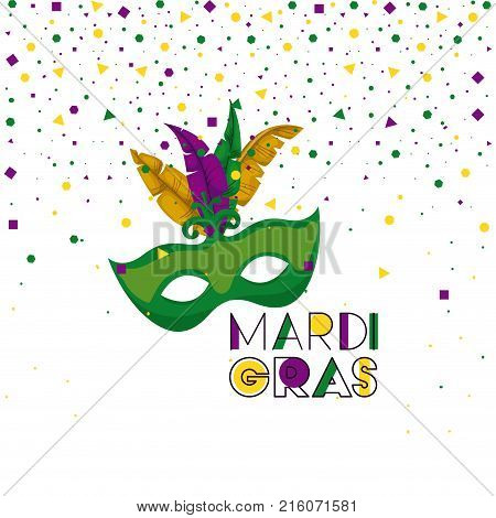 mardi gras background with green mask with colorful feathers and confetti background vector illustration