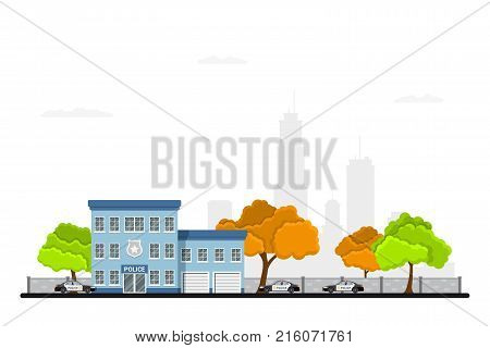 Picture of city police station building with police cars, trees and big city silhouette on background. Urban landscape. Law protection concept. Flat style illustration.