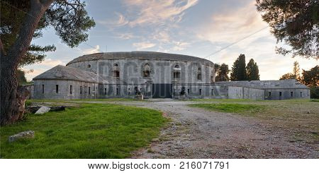 Pula Croatia Europe - November 17 2017: View on Fort Bourguignon (Fort Monsival) is one of many fortresses in Pula Croatia that were built by the Austrian Empire in the second half of the 19th century.