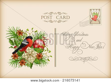 Vintage vector card with holiday composition of the Christmas decorations