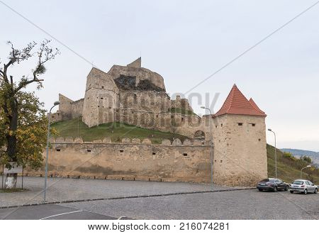 Near Sighisoara Romania October 08 2017 : Fragment of the fortress wall of the Rupea Citadel built in the 14th century on the road between Sighisoara and Brasov in Romania