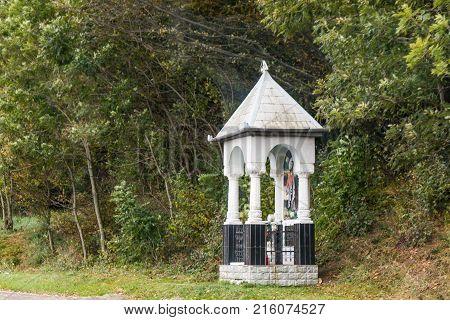 Sighisoara Romania October 08 2017 : A roadside prayer site in the suburb of Sighisoara in Romania