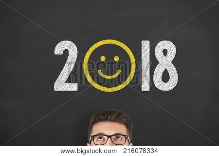 Happy New Year 2018 on Chalkboard Background new year working