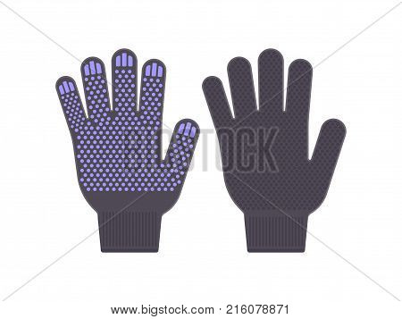 Flat black gloves for work. Vector illustration. Protective work gloves isolated on white background