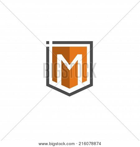 Letter M Shield logo abstract tech style logo, created shield with letter M line elements, shield abstract geometric style