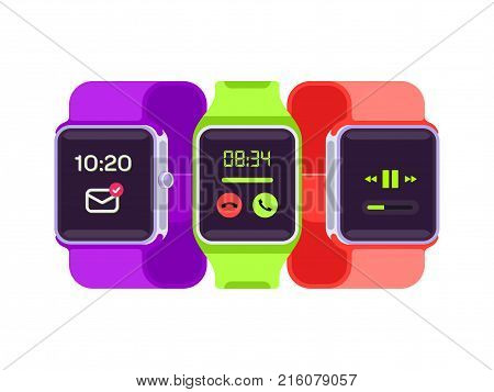 Smart Watch Vector Illustration. Smart watches isolated on white