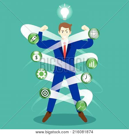 Business Concept As A Full-Energy Muscular Businessman Is Surrounded By Business Icons With Light Bulb Above. It Means New Idea Strengthens Self Performance To Manage And Cope With Working Issues.