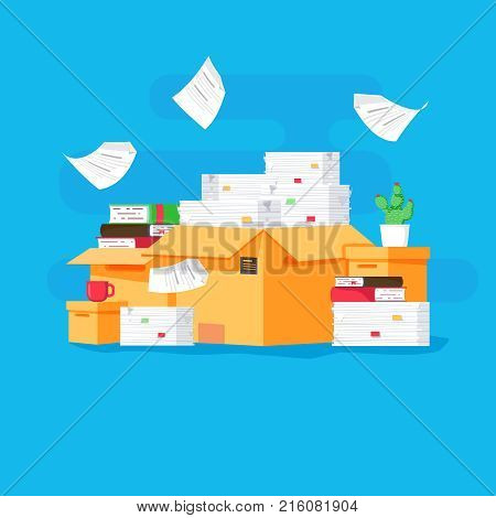 Pile of paper documents and file folders. Carton boxes. Bureaucracy paperwork office. Vector illustration in flat style. Busy with paperwork in office.