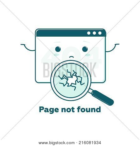 Page not found concept 404 error web page with cute cartoon face. Flat line illustration concept for web and mobile design. Design tamplate Link to a non-existent page. Broken magnifier searching.