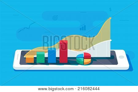 Data sheet on a tablet PC. Sales growth report or analytics investigation boosted sales graph analytics data for research vector. Analysis on paper sheet document via tablet concept.