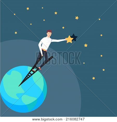 Successful Businessman Standing On Ladder Of Success And Reaching Goals Holding A Star. Business Ach