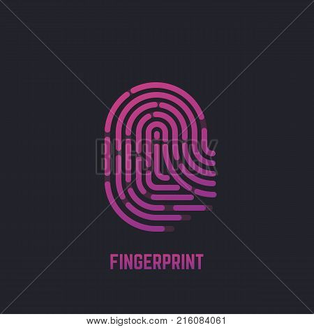 Fingerprint line illustration. Gradient finger print for scanning. Dark background. Logo icon or banner for security. Simple abstract human hand fingerprint. Linear modern trendy vector.