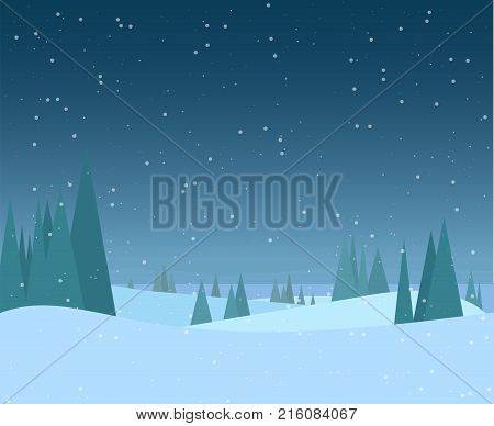Night winter forest illustration. Christmas snow nature background. Snowfall and mountains on background. Sky with snow. Forest of fir-trees. Calm winter scene.