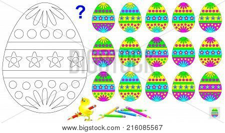 Logic puzzle game. Need to find the only one unpaired egg and paint black and white drawing in corresponding colors.