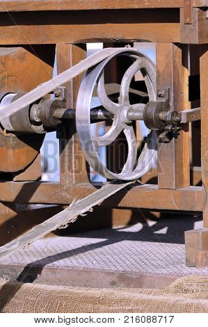 pulley of an agricultural machine in motion
