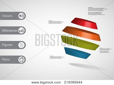 3D Illustration Infographic Template With Rotated Hexagon Divided To Four Parts Askew Arranged