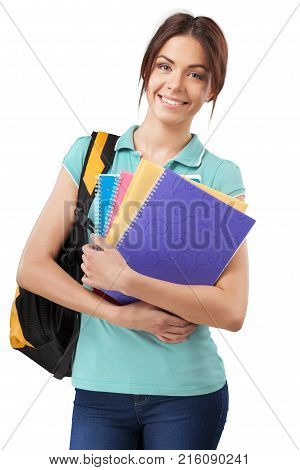 Young student teenage girl college student high school student holding person