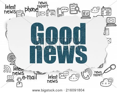 News concept: Painted blue text Good News on Torn Paper background with  Hand Drawn News Icons