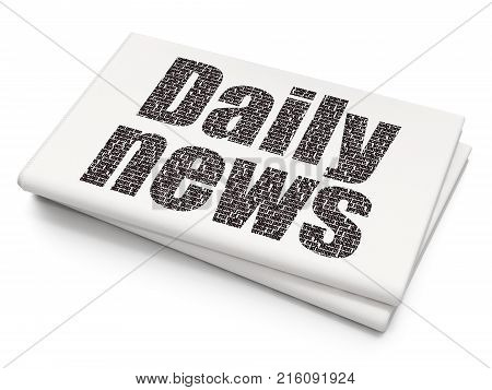 News concept: Pixelated black text Daily News on Blank Newspaper background, 3D rendering