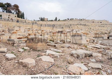 Jewish Cemetery On The Mount Of Olives, Including The Silwan Necropolis Is The Most Ancient Cemetery