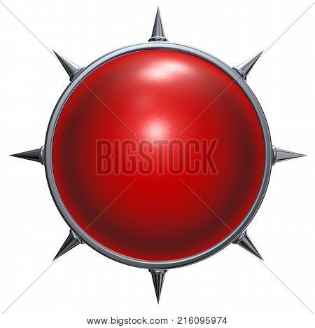 sphere with prickles on white background - 3d rendering