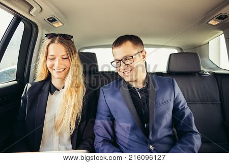 Business People Meeting Working the Car Inside