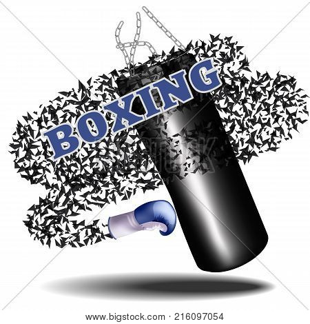 Boxing.Poster advertising, template. Punching bag with Boxing gloves. Vector illustration
