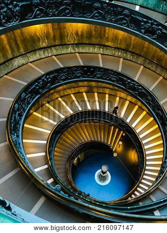 VATICAN CITY, ITALY - november 27, 2017: Bramante Staircase staircases in the Vatican Museums.