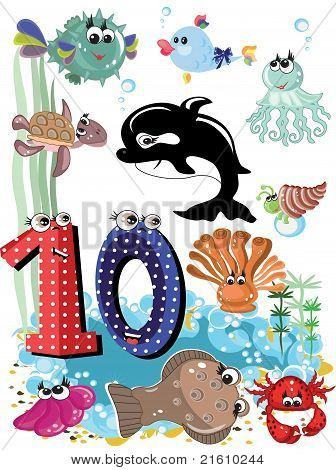 Sea animals and numbers ,10