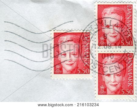 GOMEL, BELARUS, 29 NOVEMBER 2017, Stamps printed in Denmark shows image of the Margrethe II is the Queen of Denmark, circa 2017.
