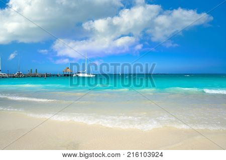 Cancun Playa Tortugas beach in Hotel Zone of Mexico