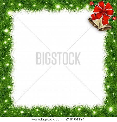 Template with vector christmas tree branches and space for text. Realistic fir-tree border frame with red bow isolated on white. Great background for christmas cards banners flyers party posters.