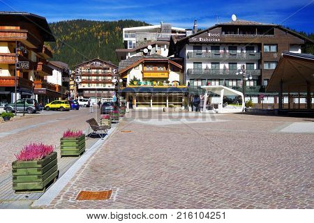 MADONNA DI CAMPIGLIO ITALY - OCTOBER 24, 2017: View of the main square of Madonna di Campiglio Resort, Italy. Madonna di Campiglio is a ski resort in Dolomites Alps Italy